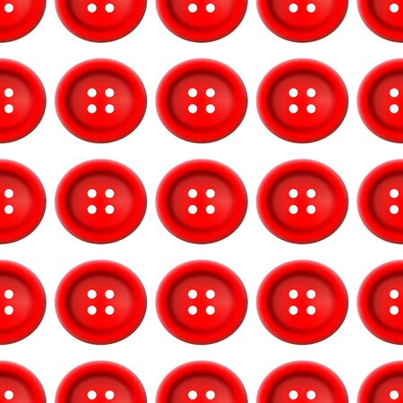red Sewing Buttons Seamless Pattern. Vector illustration on white