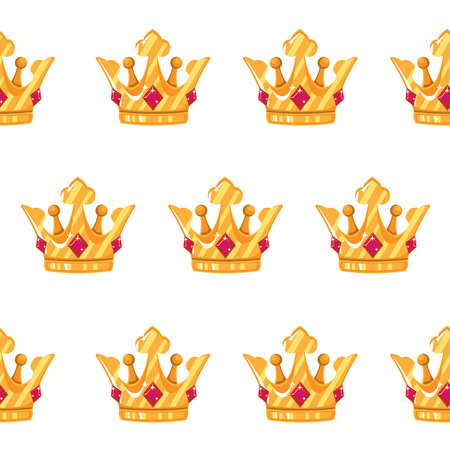 Vector illustration. Seamless pattern of crowns. Gold Crowns with gems.  Art Design Cartoon.