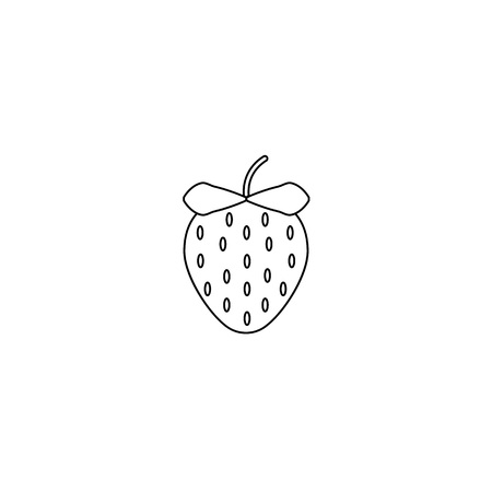Garden strawberry fruit or strawberries line art vector icon for food apps and websites eps10