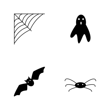 Collection of halloween silhouettes icon and character. Black on white background.