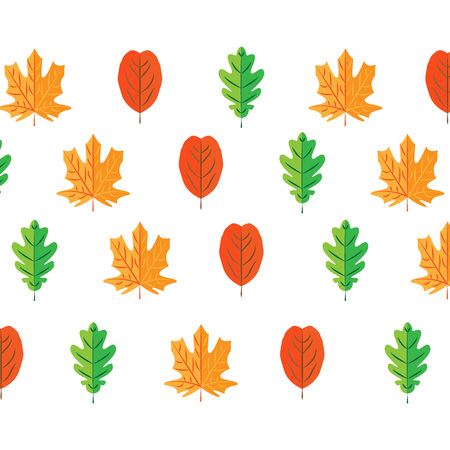 autumn leaves set, isolated on white background. simple cartoon flat style, vector illustration. SEAMLESS PATTERN