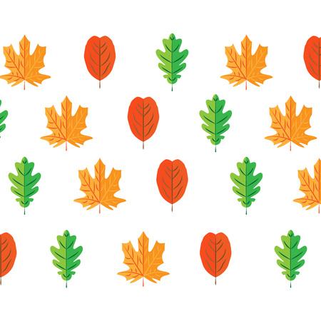 autumn leaves set, isolated on white background. simple cartoon flat style, vector illustration. SEAMLESS PATTERN