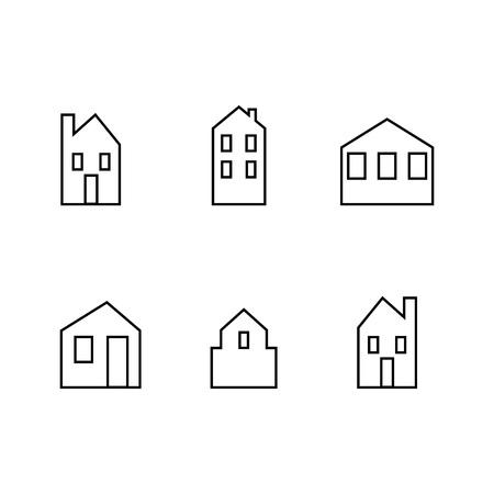 casas, conjunto, ciudad, vector, icono, plano de fondo, blanco y negro, silueta