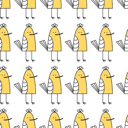 Vector illustration. small baby bird. yellow sandpiper seamless pattern
