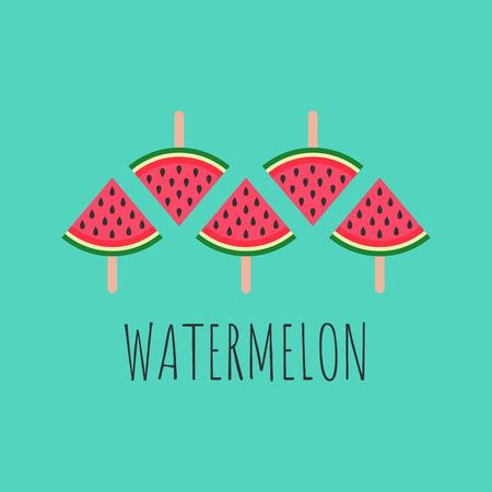watermelon inscription design watermelon slices on sticks, vector illustration on blue background. summer concept eps10
