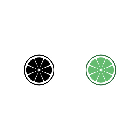 Lime logo. Isolated lime on white background. EPS 10. Vector illustration. citrus slices set