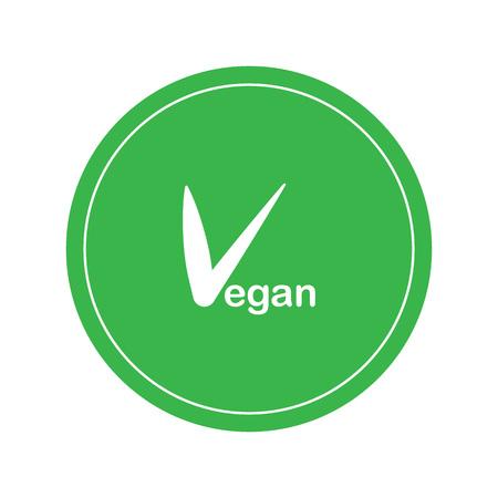 vegan vector logo. Round eco green logo. Vegan food sign with leaves. tag for cafe restaurants packaging design.