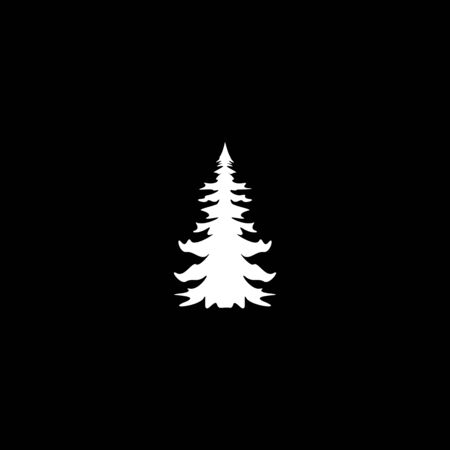 white Silhouette of fir Tree or christmas tree on black Background Vector illustration