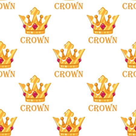 Creative Crown Concept Logo Design Template flat seamless pattern