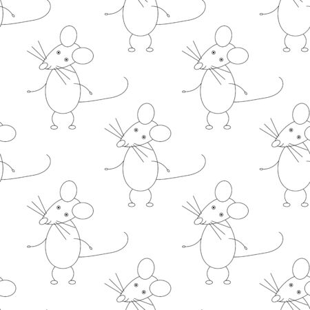 vector Illustration of Funny Mouse Animal Character seamless pattern Иллюстрация