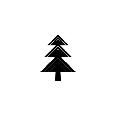 Fir-tree black icon, silhouette and vector logo. Flat isolated element. Nature sign and symbol. Christmas tree