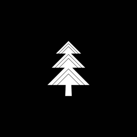 Fir-tree black icon, silhouette and vector logo. Flat isolated element. Nature sign and symbol. Christmas tree. White on black silhouette