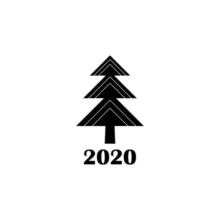 Vector illustration, Christmas tree. Black isolated silhouette. Applicable as a decorative element for interior designs, greeting postcards, posters, flyers etc. Happy new year 2020 sign Иллюстрация