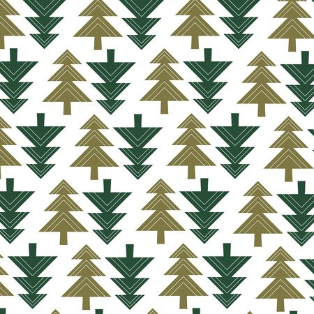 Winter vector seamless pattern with geometric Christmas tree in green on white background. Иллюстрация