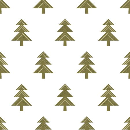 Winter vector seamless pattern with geometric Christmas tree in green on white background. fir tree pattern