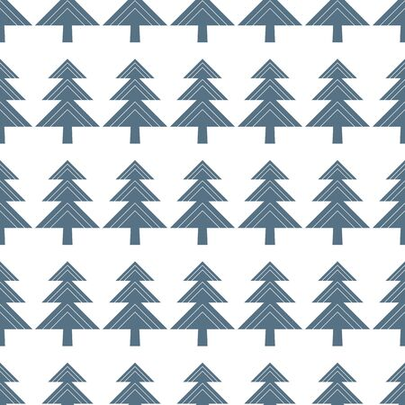Winter vector seamless pattern with geometric Christmas tree in blue on white background. Иллюстрация