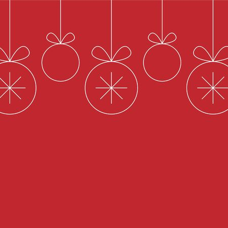 Decorative border made of white line Christmas ball toys hanging on red background. seamless pattern. copy space Иллюстрация