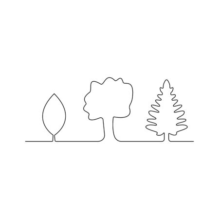 Continuous line drawing of trees on white background. Vector illustration Иллюстрация