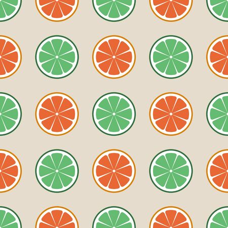Seamless vector citrus pattern. Fruit background. Summer bright background with lime and orange or grapefruit Stok Fotoğraf - 129499028