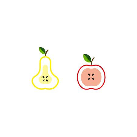 Apple and pears half silhouettes over white background. 向量圖像
