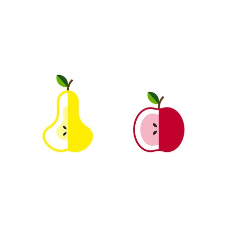 set of Apple and pear whole fruit and cut icon modern concept