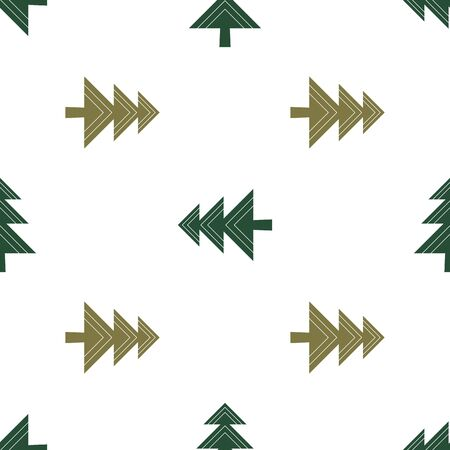 Winter vector seamless pattern with geometric green Christmas tree in different green on white background. 向量圖像