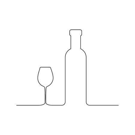 Wine and glass contour. Black outline vector.  イラスト・ベクター素材