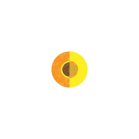 Half peach icon. Flat illustration of half peach vector icon for web design 写真素材