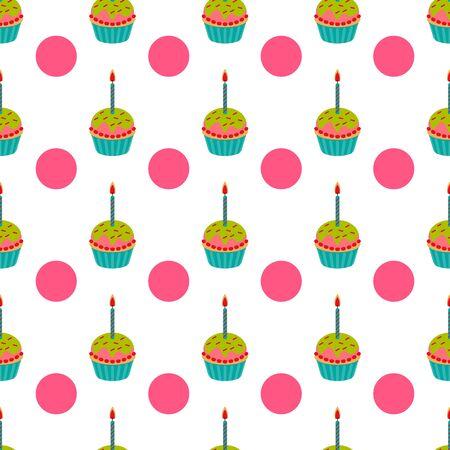cute birthday cupcake seamless pattern. vector illustration. Archivio Fotografico - 133284628