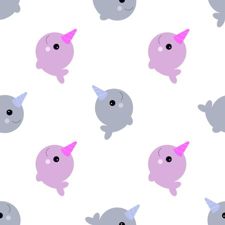 baby cute narwhals seamless pattern on white