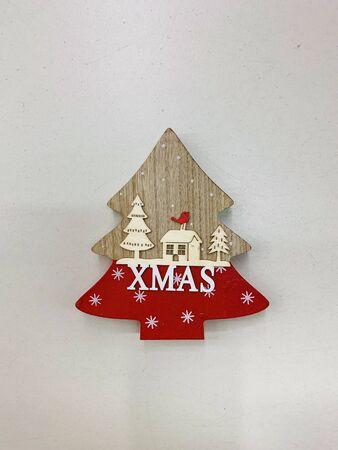 Christmas tree wooden toy on white background. Christmas decoration Reklamní fotografie