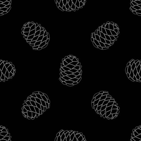 Seamless forest background with pine cones white on black