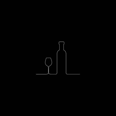 Continuous line drawing. Wine bottle and glass contour. White outline vector on Black background.