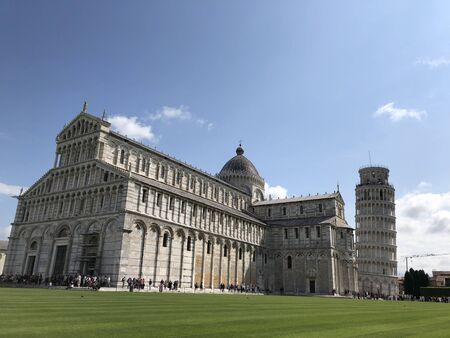 Pisa cathedral and falling tower Italy spring