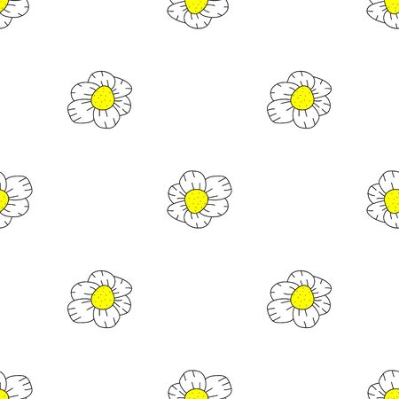 Vector Seamless Doodle Floral Pattern on white. daisy Иллюстрация