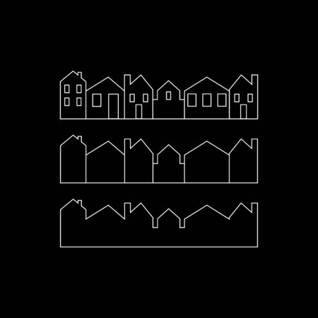 city, vector icon, background, black and white silhouette Cityscape
