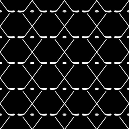 Vector illustration of hockey. Stick and puck. Seamless pattern background. White silhouette on black