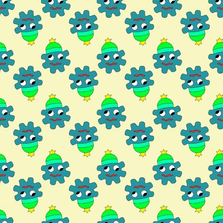 Vector illustration of hand drawn cute strange monster. Colorful doodle character. Seamless pattern