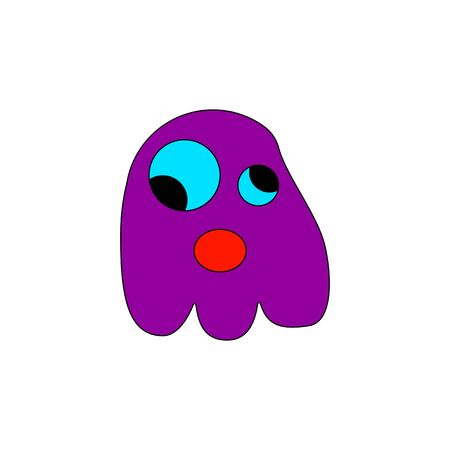 Cute bright funny doodle Ghost Halloween Concept Flat Icon On white Background Ilustracja
