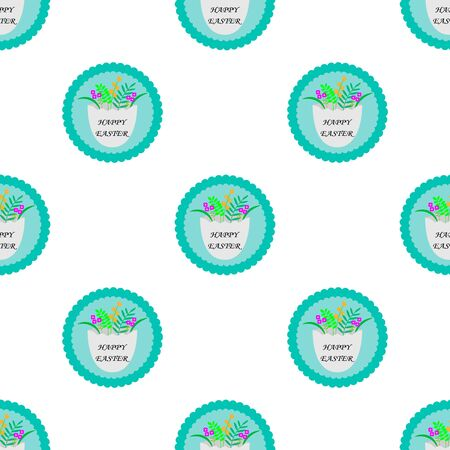 Vector seamless pattern with cute retro icons for Easter design. Easter background with eggs and flowers and text happy easter Archivio Fotografico - 140187424