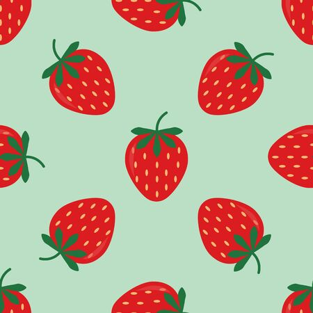 Seamless background with red strawberries. Cute vector strawberry pattern. Summer fruit illustration on blue pastel background.