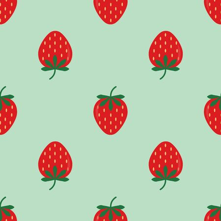 Strawberry seamless vector pattern with blue background