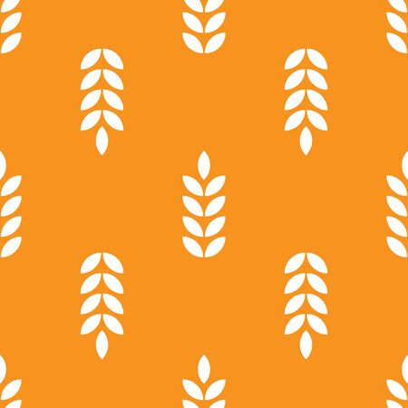 Seamless pattern with ears of wheat.white on yellow.