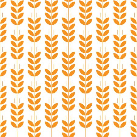 Vector seamless pattern with images of wheat ears on white background