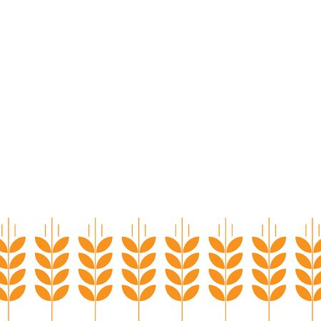 Ears of wheat. Agriculture straw. Orange rye grass. Place for text. Copy space. Horizontal banner. Background frame. good for packaging, wndow advertising bakery Vettoriali