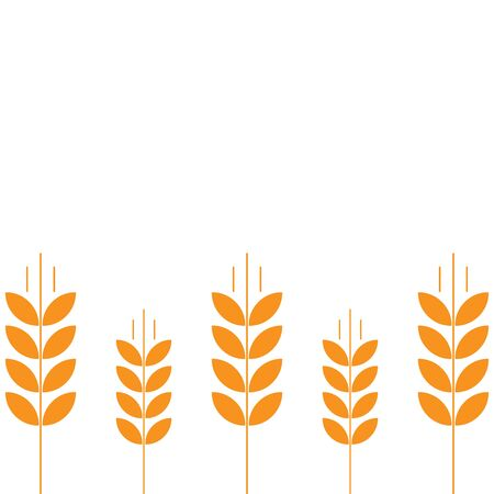 Ears of wheat. Agriculture straw. Orange rye grass. Place for text. Copy space. Horizontal banner. Background frame. good for packaging, wndow advertising bakery