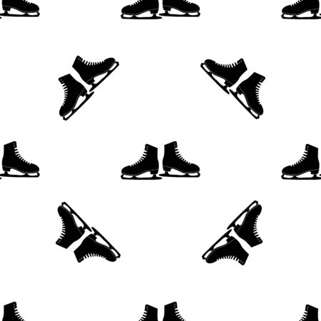 Seamless pattern with ice skates, figure skating
