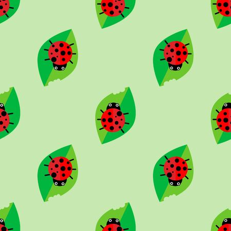 ladybug seamless pattern, abstract texture vector art illustration for baby children