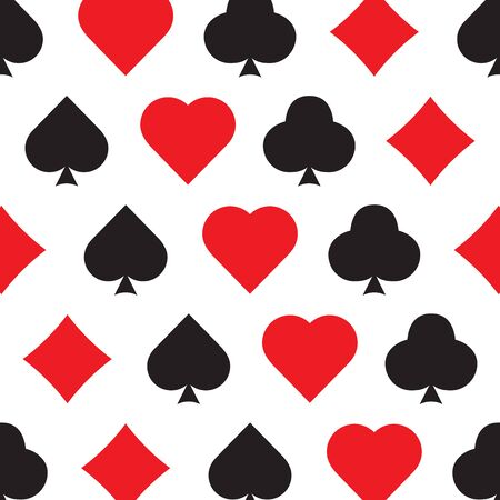 playing Cards suit seamless pattern background game bridge. Vector illustration on white Banque d'images - 140683184