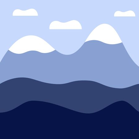 Vector mountains landscape, abstract blue view, vector illustration  イラスト・ベクター素材